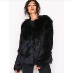 Joie l  black long sleeve fur coat